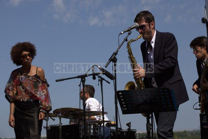 Mayomi Moreno, Franck Leymeregie, François-Marie Moreau, Benjamin Pellier; Akoda Quintet, Festival JAZZ360 2014, Quinsac. 08/06/2014