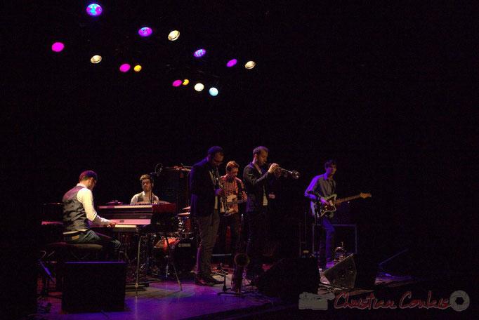 Julian Caetano, Thomas Doméné, Régis Ferrante, Martin Jaussan, Guillaume Gardey de Soos, Matthis Pascaud; Les Métropolitains, Festival JAZZ360 2013, Cénac. 08/06/2013