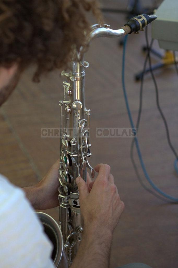 Festival JAZZ360 2014, saxophone de Brice Matha; Delbosque Band. Cénac, 07/06/2014