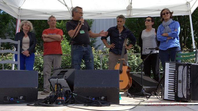 Festival JAZZ360, Richard Raducanu, Président de JAZZ360 entouré de Marie-Line Micheau-Héraud, Bernard Capdepuy, Vincent Michelet, Marie-Angèle Rey, Sandrine Salier, élu-es, 14/06/2015