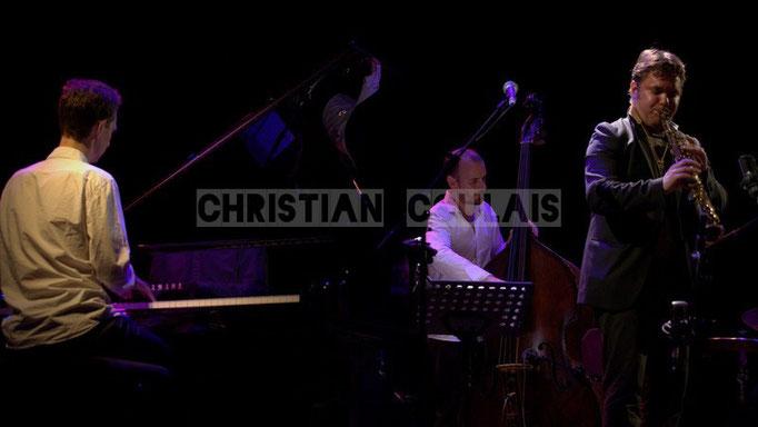 Pierre de Bethmann, Sylvain Romano, Baptiste Herbin; Baptiste Herbin Quartet feat André Ceccarelli, Festival JAZZ360 2014, Cénac. 07/06/2014
