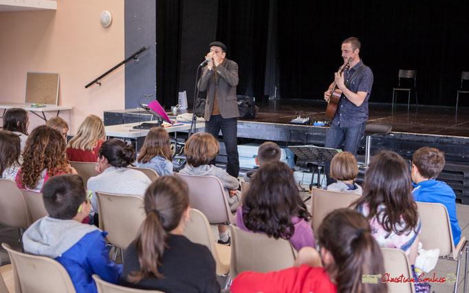 """Concert pédagogique """"Le blues en histoires et chansons"""" par Cadijo et Ludovic Aristégui. Festival JAZZ360, Cénac. 05/06/2018"""