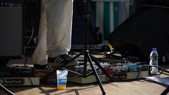 Festival JAZZ360 2014, pédales d'effets de Christophe Maroye; EBop Quartet, Cénac. 07/06/2014