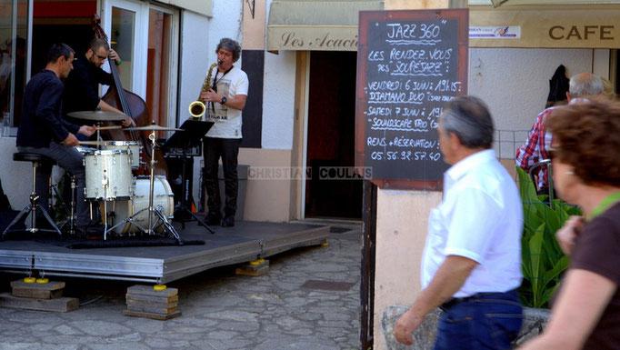 Festival JAZZ360 2014, Souper Jazz au restaurant les Acacias avec Soundscape Trio, Cénac. 07/06/2014