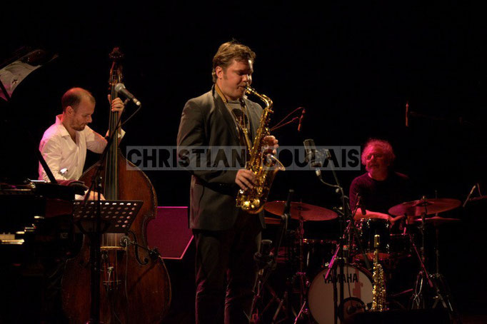 Sylvain Romano, Baptiste Herbin, André Ceccarelli; Baptiste Herbin Quartet feat André Ceccarelli, Festival JAZZ360 2014, Cénac. 07/06/2014