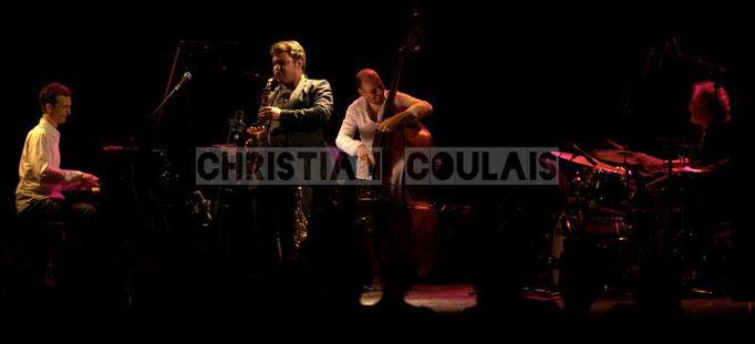 Pierre de Bethmann, Baptiste Herbin, Sylvain Romano, André Ceccarelli; Baptiste Herbin Quartet, Festival JAZZ360 2014, Cénac. 07/06/2014
