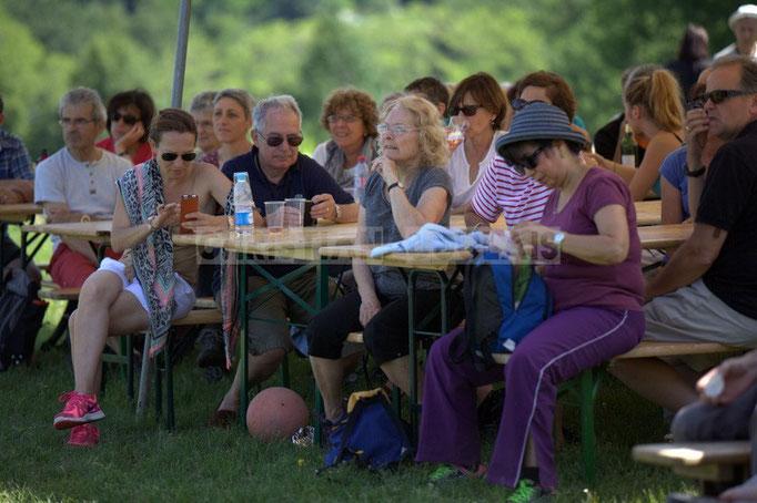 Festival JAZZ360 2014, les randonneurs écoutent Akoda au Château Lestange, Quinsac. 08/06/2014