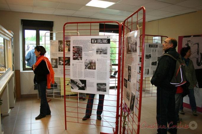 """Exposition """"Histoire du Jazz"""" Inauguration du Festival JAZZ360 2010, bibliothèque de Cénac. Vendredi 14 mai 2010"""