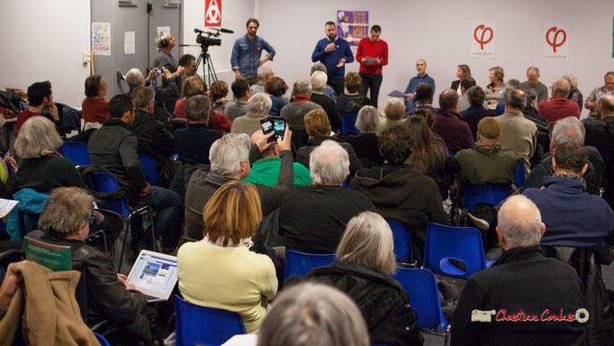 Le public via les réseaux sociaux realye aussitôt. Comité d'appui la France insoumise aux élections européennes, Bordeaux. 22/11/2018