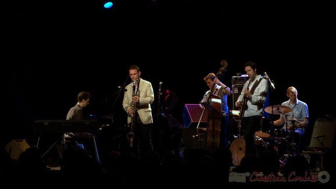 Festival JAZZ360 2015, Pierre de Bethmann, Thomas Savy, Stéphane Kerecki, Mickaël Felberbaum, Karl Jannuska; Thomas Savy Quintet. Cénac, 13/06/2015