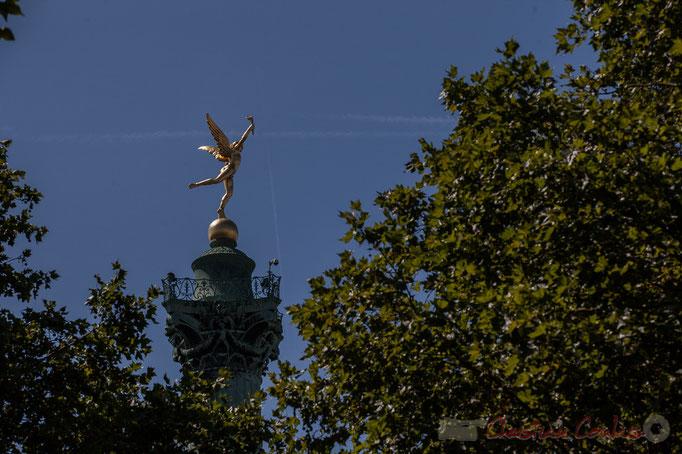 Colonne de Juillet, place de la Bastille, Paris, construite entre 1835 et 1840 en commémoration des Trois Glorieuses