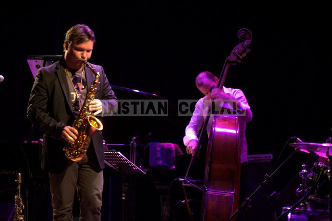 Baptiste Herbin, Sylvain Romano; Baptiste Herbin Quartet feat André Ceccarelli, Festival JAZZ360 2014, Cénac. 07/06/2014