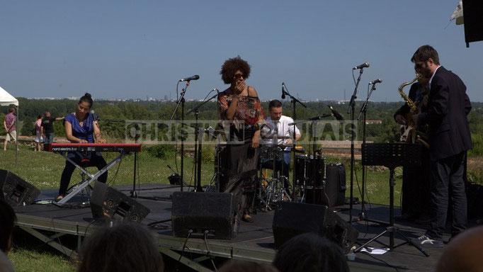 Valérie Chane-Tef, Mayomi Moreno, Franck Leymeregie, François-Marie Moreau; Akoda Quintet, Festival JAZZ360 2014, Quinsac. 08/06/2014