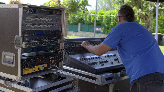 Festival JAZZ360 2014, Tony, régie son extérieur, balance le Delbosque Band. Cénac, 07/06/2014