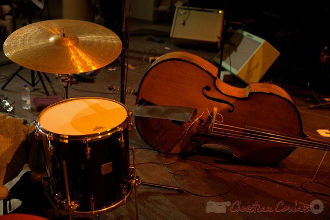 Festival JAZZ360 2015, batterie et contrebasse, Jean-Claude Oleksiak Quartet, Salle culturelle, Cénac. 13/06/2015