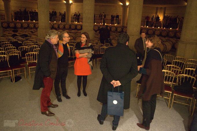 Christophe Salin, D.G. du Goupe Domaines Barons de Rothschild (Lafite), Philippe Cauvin, guitariste, Alessia Amighetti, responsable Communication du Groupe