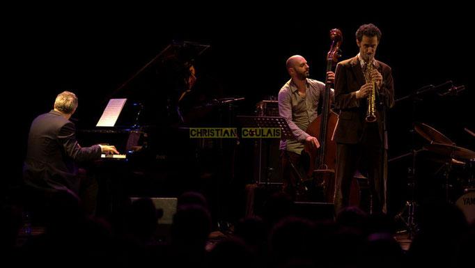 Festival JAZZ360 2014, Giovanni Mirabassi, Mauro Gargano, Christophe Laborde; Christophe Laborde Quartet feat Giovanni Mirabassi. Cénac, 06/06/2014