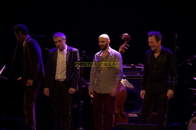 Festival JAZZ360 2014, Christophe Laborde, Giovanni Mirabassi, Mauro Gargano, Louis Moutin; Christophe Laborde Quartet feat Giovanni Mirabassi. Cénac, 06/06/2014