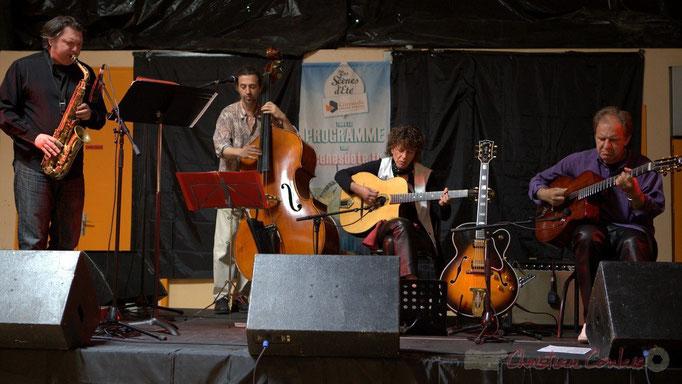 Cyril Prévost, Patrick Puech, Bernadette Bourdier, Jean-Michel Bourdier; Django Phil, Festival JAZZ360 2013, Latresne. 09/06/2013