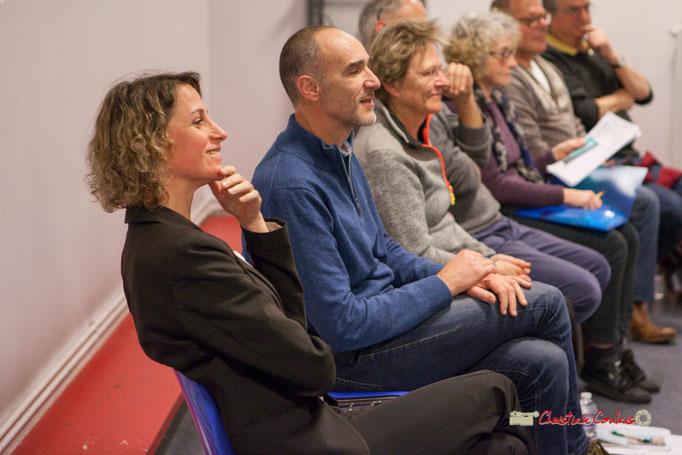 """Marie Duret-Pujol, Loïc Prud'homme, Sylvie Nony, """"le sourire de la gagne"""" Comité d'appui la France insoumise aux élections européennes, Bordeaux. 22/11/2018"""