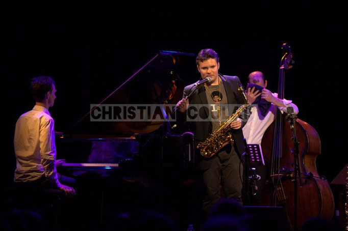 Pierre de Bethmann, Baptiste Herbin, Sylvain Romano; Baptiste Herbin Quartet, Festival JAZZ360 2014, Cénac. 07/06/2014