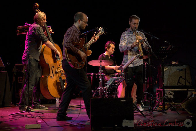 Festival JAZZ360 2015, Jean-Claude Oleksiak,  Pierre Perchaud, Antoine Paganotti, Christophe Panzani; Jean-Claude Oleksiak Quartet, Cénac. 13/06/2015