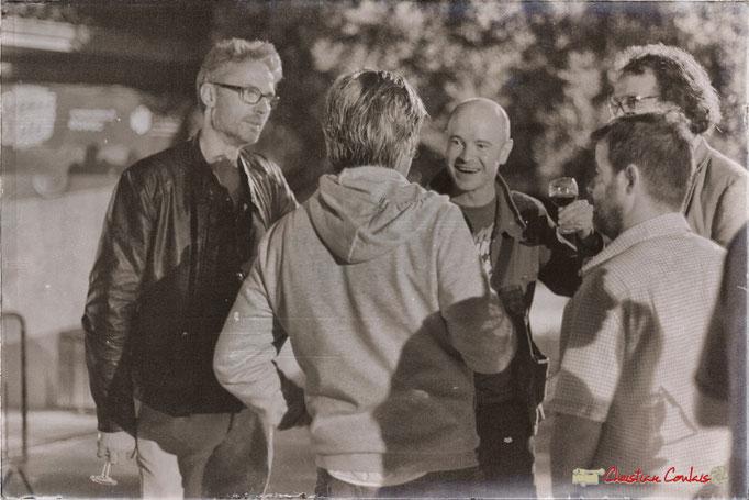 Gadjo & Co (Denis Jössel, Valery Haumont, Arnaud Bouquin, Paul Kurkdjian) rencontrent Vincent Bourgeyx (de dos). Festival JAZZ360 2018, Cénac. 09/06/2018