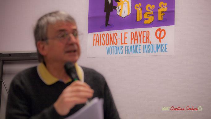 """""""Faisons le payer (Emmanuel Macron; votons France insoumise"""" Comité d'appui la France insoumise aux élections européennes, Bordeaux. 22/11/2018"""