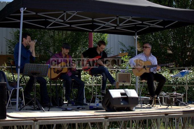 Cadijo, Baptiste Duperron, Baptiste Castets, Geoffroy Boizard; Cadijo vagabond blues project, Festival JAZZ360 2014, Latresne. 08/06/2014