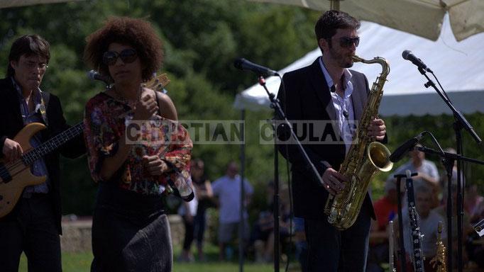 Benjamin Pellier, Mayomi Moreno, François-Marie Moreau; Akoda Quintet, Festival JAZZ360 2014, Quinsac. 08/06/2014