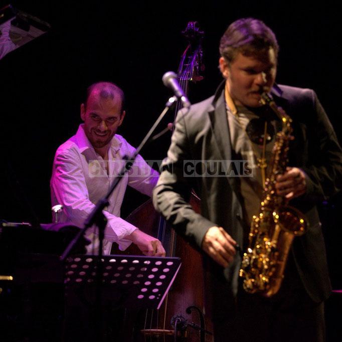 Sylvain Romano, Baptiste Herbin; Baptiste Herbin Quartet feat André Ceccarelli, Festival JAZZ360 2014, Cénac. 07/06/2014