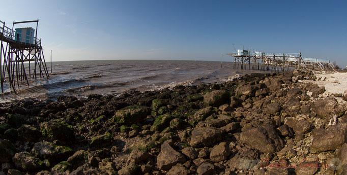 Estuaire de la Gironde, 12km de large, la roche du Caillaud, Talmont-sur-Gironde