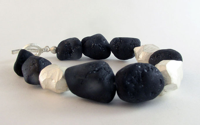 Black tourmaline rock bracelet, sterling