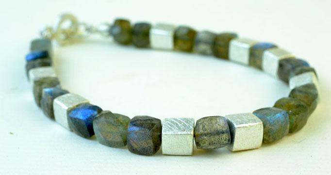 Labrodorite square-bead bracelet, sterling