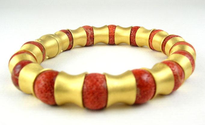 Coral wirbel bracelet, sterling, 24KY