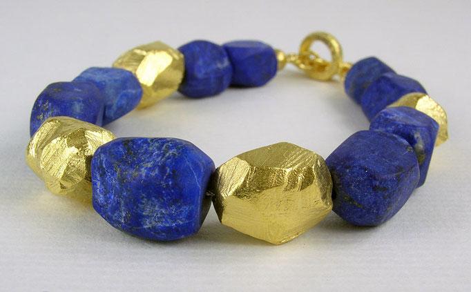 Lapis rock bracelet, 24KY, sterling