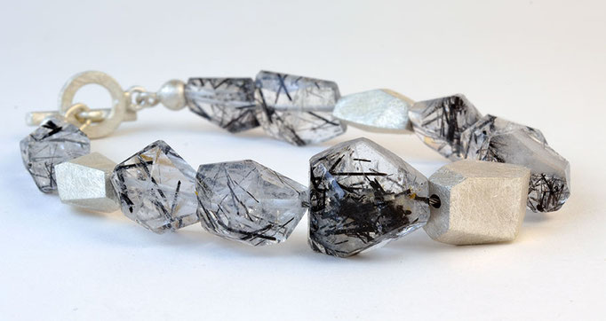 Tourmalinated quartz bracelet, sterling