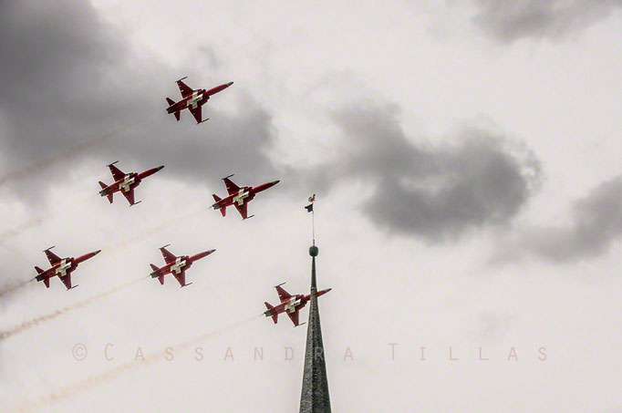 """Patrouille Suisse flying over Davos during Jodlerfest 2014 (pronounce the """"J"""" as a """"Y"""", and you get the idea of what type of singing one must endure for three days during this traditional festival!)"""