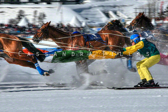 """Among other races involving horses and humans, this bit of insanity is called Skijöring, and takes place during """"White Turf"""" on the frozen lake in St. Moritz for two weekends every February."""