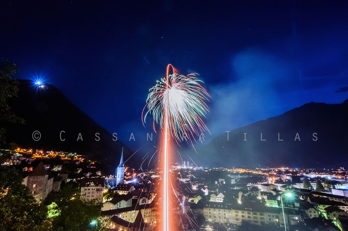 """August 1st is Switzerland's """"Nationalfeiertag."""" I usually manage to find a place with a good view to set off a fair amount of fireworks. Presentation is everything.  Chur, Switzerland."""