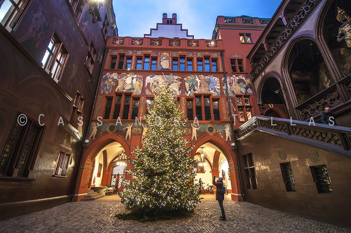 The Christmas tree inside the old city hall/Rathaus in Basel.