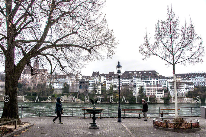 Walking along the Rhein in Basel.