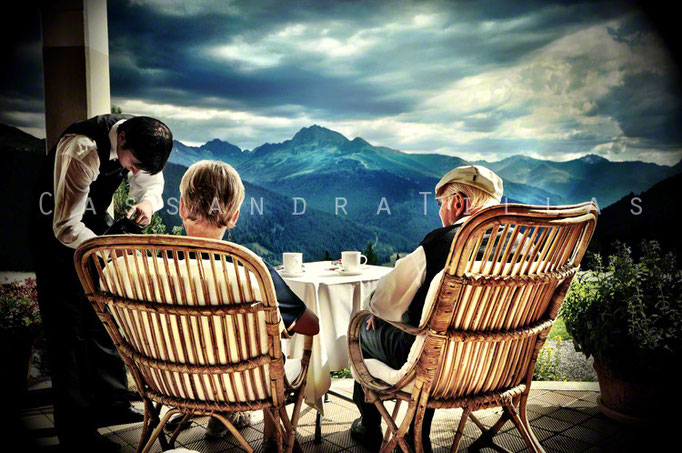 On the terrace of the Berghotel Schatzalp in Davos.