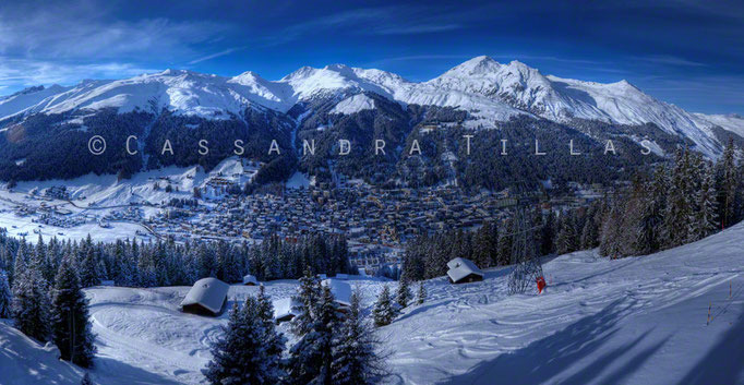 Panorama of Davos Platz from Jakobshorn.