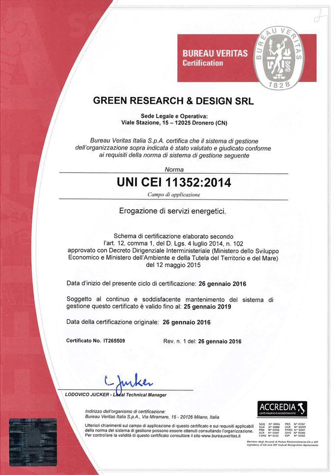Certificazione UNI 11352