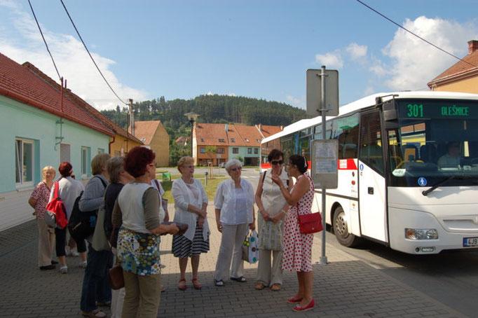 Ankunft in Lissitz etwa 30 km nördlich von Brünn mit Linienbus