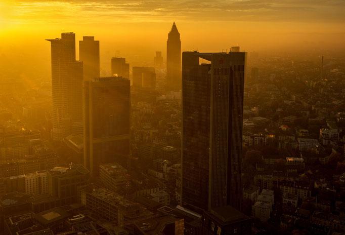 Frankfurt. Sunset Over Skyline.