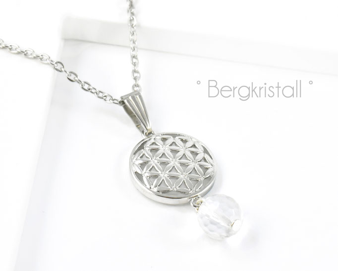 Edelstahlkette mit Blume des Lebens und Bergkristall Edelstein