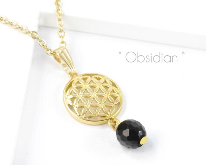 Edelstahlkette mit Blume des Lebens und Obsidian Edelstein