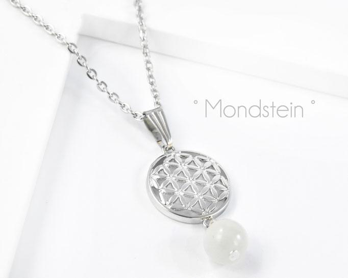 Edelstahlkette mit Blume des Lebens und Mondstein Edelstein